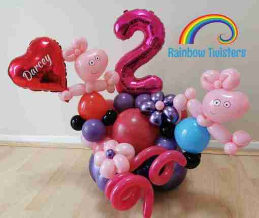 pig Themed Birthday Balloons Rainbow Twisters Glasgow Balloon Company