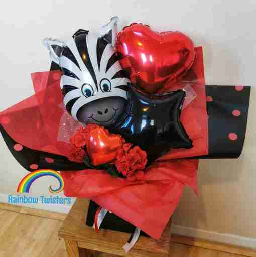 Zebra Balloon Bouquets Rainbow Twisters Balloon Gifts and Delivery