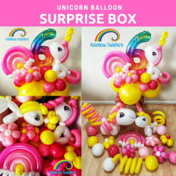 Unicorn Themed Balloon Surprise Box by Rainbow Twisters