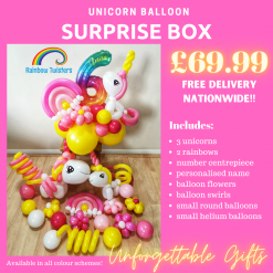 Unicorn Themed Balloon Surprise Box