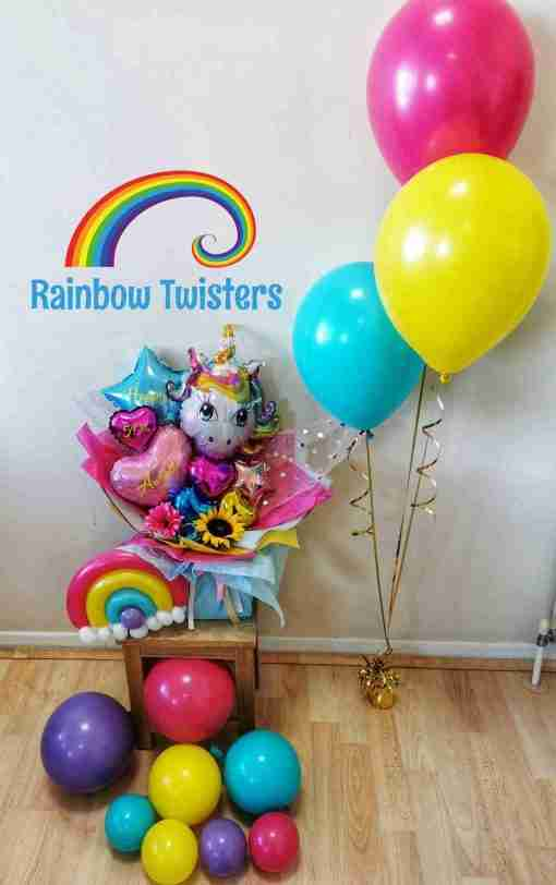 Unicorn Bouquet Rainbow Twisters Balloon Company Available for delivery nationwide UK