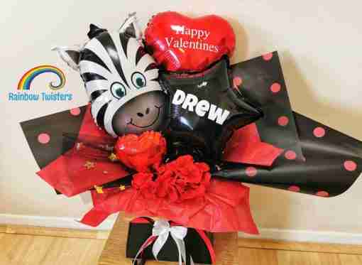 Zebra Balloon Bouquet Rainbow Twisters